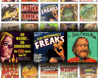 """SIDESHOW - Digital Printable Collage Sheet - Vintage Circus Freaks & Carnival Funhouse Freakshow, 1"""" Square or Scrabble, Instant Download"""
