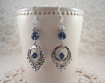 Silver Plated Filigree Blue Crystal Dangle Earrings