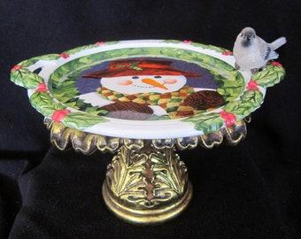 Christmas Snowman Dessert Food Plate with Song Bird