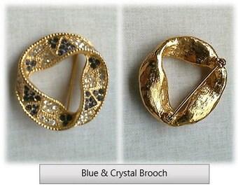 Blue & Crystal Rhinestone Brooch