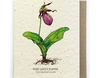 Pink Lady Slipper Greeting Card - Plantable Seed Paper - Blank Inside