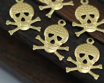 Brass Skull Necklace, 50 Raw Brass Skull Charms (16x12mm)   A0593