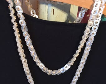 Set of Two 1950's Vintage Handmade Mother of Pearl Button Necklaces--SHIPS FREE!