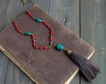 Long boho necklace beaded Leather tassel necklace red bead necklace boho jewelry turquoise pendant boho tassel necklace festival jewelry