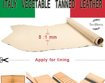 Italy Vegetable Tanned Leather, Lining Leather , Yellow of Leather Off Cuts,  Natural Vegetable Leather, [Thickness: 1.0 mm][