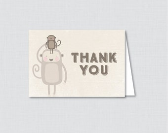 Printable Monkey Thank You Card - Printable Instant Download - Monkey Themed Baby Shower Thank You Card, Monkey Thank You Card - 0040