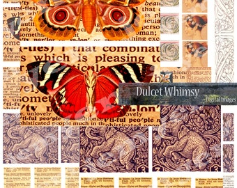 Digital Collage sheet, Printable Ephemera, Ephemera Instant Download.