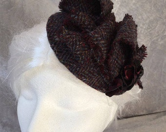 Tweed hat, tweed fascinator, tweed headpiece