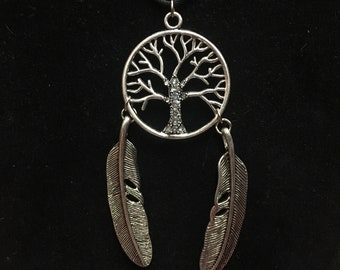 Tree of Life Necklace with Feathers