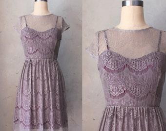 PIROUETTE GRAY -Truffle lace overlay dress / plum purple satin slip / cap sleeves / sweetheart / illusion neckline / bridesmaid / cocktail