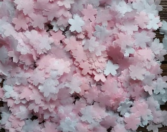 1200+ Wedding throwing confetti flower shaped !White and pink small size. Table Decoration.spring summer colours