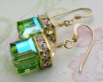 Peridot Green Earrings, Peridot Swarovski Crystal Cube, Gold Filled, Drop Earrings, Bridesmaid Wedding Jewelry, August Birthday Birthstone