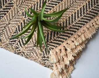 Set of 4 Woven Placemats/ Neutral/Fringe/Chevron/Boho Bohemian