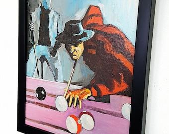 Freddy vs Jason Framed Wall Art Poster Canvas Krueger Voorhees Play Snooker Billiards Gifts Game In the Nightmare on Elm Street-Horror Decor