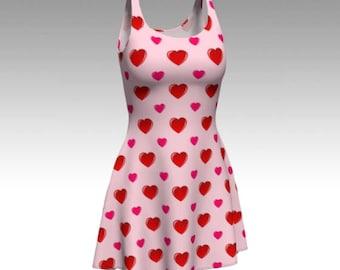 Valentine's Dress, Pink Dress, Flare Dress, Skater Dress, Fit and Flare Dress, Fitted Dress, Bodycon Dress, Valentine's Day, Heart Dress