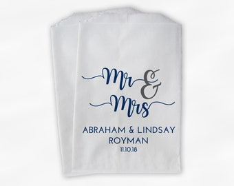 Mr & Mrs Candy Buffet Bags - Personalized Bride, Groom, and Last Name Wedding Favor Bags - Set of 25 Navy Blue Paper Treat Bags