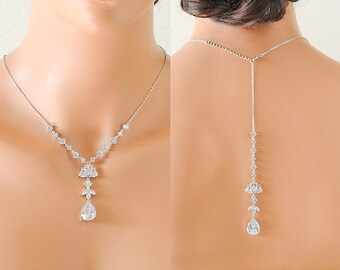 Backdrop Bridal Necklace, Wedding Back Necklace, Crystal Cluster Back Drop Necklace, Teardrop Marquise Y Drop Necklace,Bridal Jewelry, AIMEE