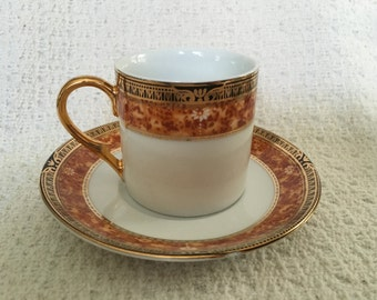 Formalities by Baum Brothers Demitasse Espresso, China Demitasse, Espresso Cup and Saucer, 10K Gold Trim, Baum Bros Demitasse, Formalities