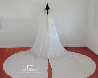 Cathedral Wedding Cape #54, Wedding Capelet, Bridal Capelet, Two Piece Bridal Cape, Bridal Cover Up