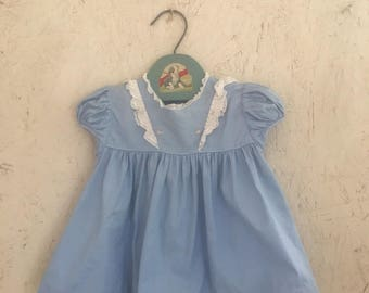 Vintage Baby Clothes 50's Castro & Co. Pastel Blue Ruffled Dress Button Back Size 3-6 Months
