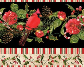 Winter Cardinals Borderstripe, Pine, Christmas in the Wildwood, Nancy Mink Wilmington Prints (By YARD)~