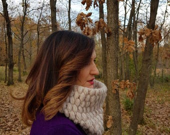 SPECIAL SALE - Stone  Hand Knit Big Cowl- for her him-crochet cowl
