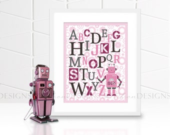 Robot ABC Nursery or Kids Room Wall Art - Pink - 8x10 - INSTANT DOWNLOAD