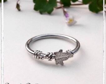 Anneau fin ajustable feuille de lierre argent massif - anneau ajustable elfique, féerique, fiançailles, mariage