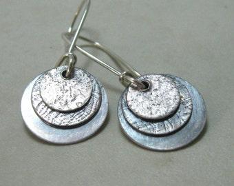 Sterling layered disc hand forged drop earrings, handmade artisan dangle earrings with brushed finish, boho oxidized dangle earrings