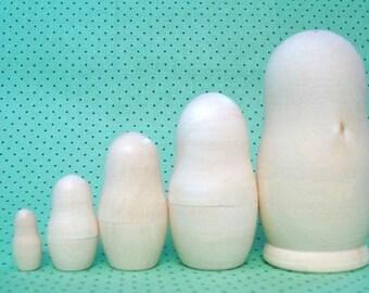 DIY Blank Russian Nesting Matryoshka Dolls- 4 inch 5 Piece Set Unpainted