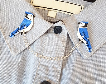 Blue Jay bird Collar Clip, Handpainted, Jewellery, Shrink Plastic, Jewelry, Collar Chain, garden bird, girl jewelry, bird lovers, fashion
