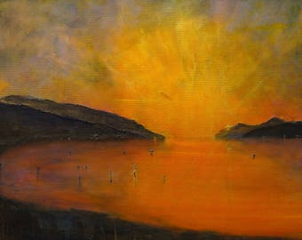 Loch Ness Sunset - Scottish Art Painting Prints Gifts - Painted And Printed In Scotland