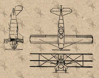 Digital printable retro drawing vintage Airplane Model Triplane Instant Download clipart  graphic - transfers, iron on, burlap etc HQ 300dpi