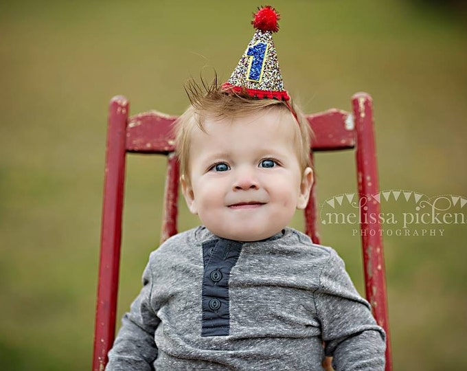 Mini Glittery Circus Birthday Party Hat First Birthday   Cake Smash  1st Birthday   Baby Girl Birthday   Birthday girl   Birthday Boy Party