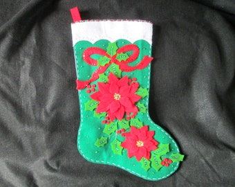 "Bucilla's ""Elegeant Poinsettia"" Completed Felt Stocking"