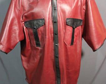Burgundy Leather Dress Shirt