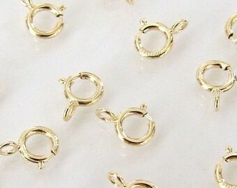 100 Pcs - 14K Gold Filled 5mm Spring Ring Clasp, Made in Italy, GF1