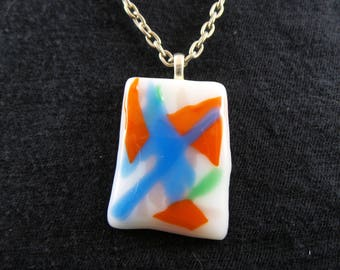 90's Flashback Fuse Glass Necklace With Blue, Red, Green, and White