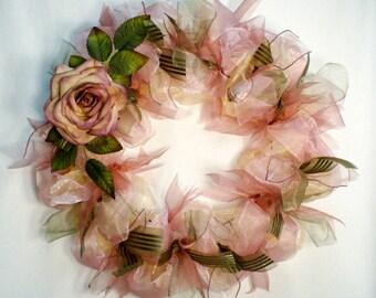 Everyday ribbon wreath, victorian tone ribbon wreath, dusty rose wreath