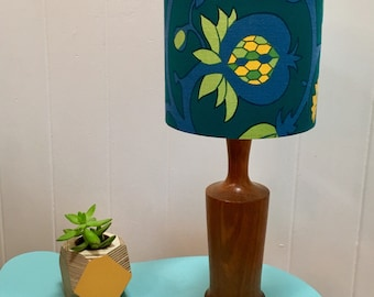 Handmade drum lampshade using original midcentury bold floral fabric in turquoise, teal, yellow and green - vintage fabric - midcentury