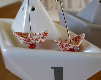 Origami earrings red and white printed paper boats