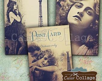 2.5x3.5 Paris Dreams Digital Collage Sheet Printables for Junk Journals, Scrapbookings, Epherma, Vintage Images for Decoupage, Earrings Card