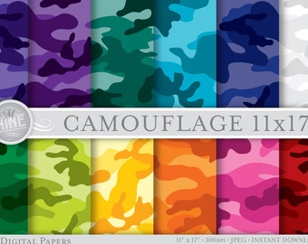 "BRIGHT CAMOUFLAGE Digital Paper Pack 11"" x 17"" Pattern Prints, Instant Download, Patterns Backgrounds Scrapbook Camo Print"