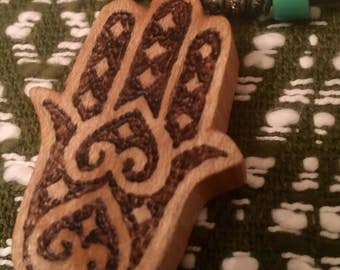 Hamsa necklace, protection from Evil. Wood. Wood-burned