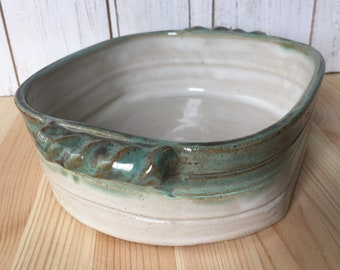 Ceramic Caserole Dish, Pottery Baker, Handmade Pottery for the Cook, Rustic Green and White Baking Dish, Lasagna pan, 4 Cup Casserole Dish