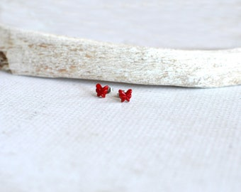 Vintage Red Butterfly Earrings- Tiny Red Butterfly Studs- Titanium Earring Studs- Red Vintage Studs- Titanium Earrings- Hypoallergenic Studs