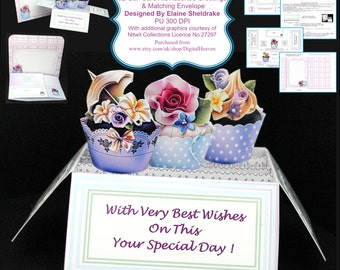 Birthday Cupcakes - 3D Pop-Up Box Card Kit, Assorted Grettings & Matching Envelope PU 300 DPI