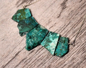 Organic Rough Blue Green Chrysocolla Gemstone Teal Statement Necklace, Ocean Aqua Stone Sterling Silver Necklace - Mineral