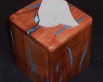 Tissue Box Holder~Tissue Box Cover ~Handmade~Turquoise Inlay~Mesquite Wood
