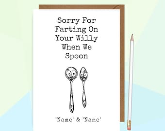 Rude Anniversary Card Funny Spoon Anniversary Card Girlfriend Anniversary Card For Wife Fiancee Quote Print Personalised Flamingo Lingo LP3